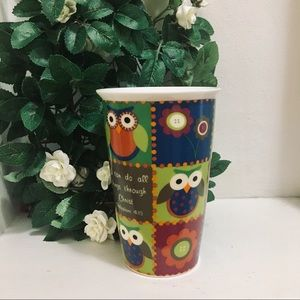 CYPRESS HOME EUC Bright Patchwork Owl Coffee Mug